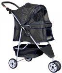 Black Pet Stroller 3 Wheel Stroller Travel