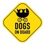 Dog Stroller Yellow Sign